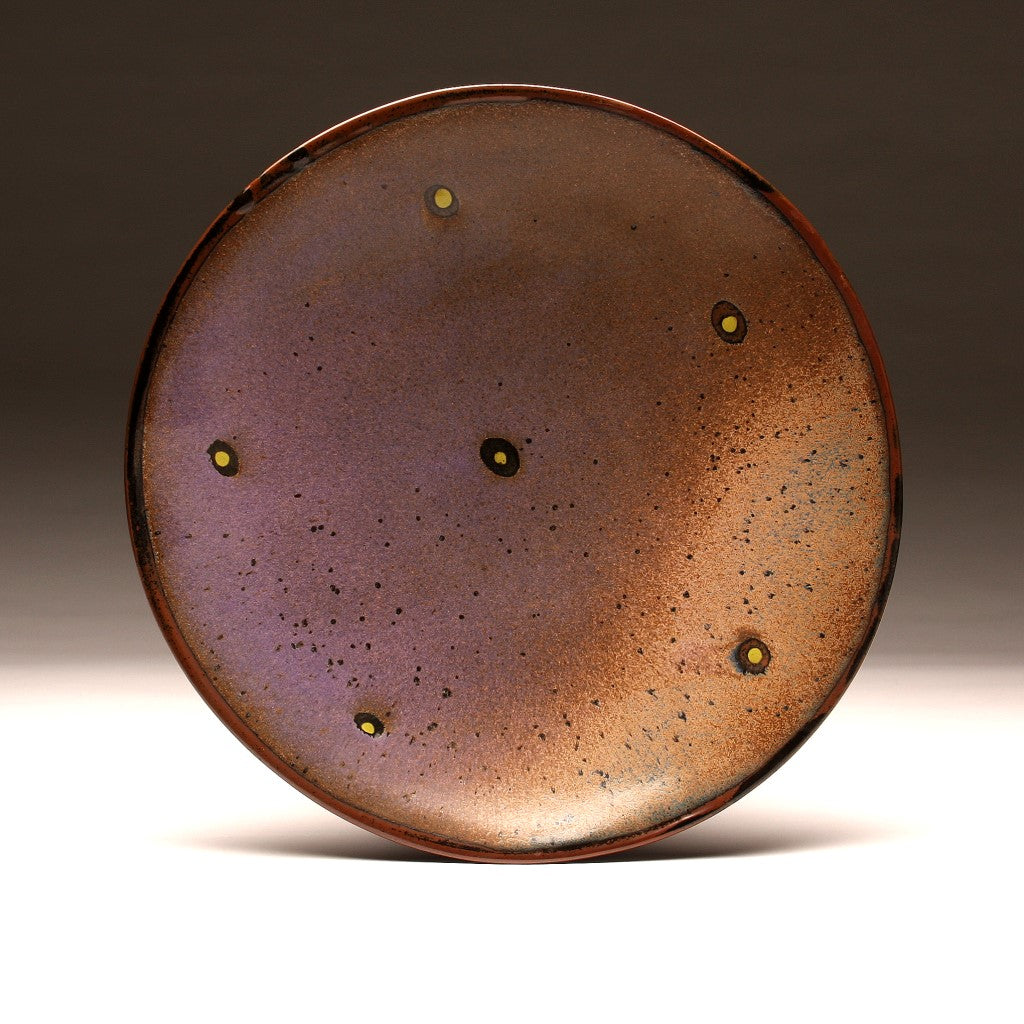 "DH008 Large 15"" Purple and Tenmoku Spotted Platter"