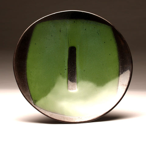 "DH009 Extra Large 18"" Platter Black and Green ""Portal"""