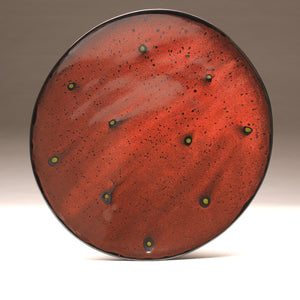 "DH010 Extra Large 18"" Platter Black and Red Spots"
