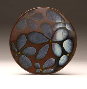 "DH015 11"" Tenmoku and Copper Red Flower Platter"