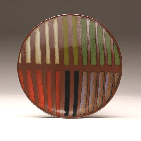 "DH017 11"" Platter, Striped With Seven Glazes"