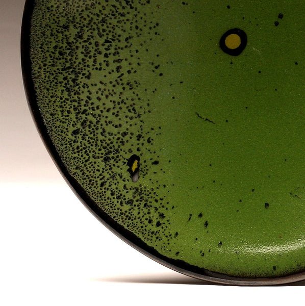 "DH018 11"" Green Platter with Black and Chartreuse Spots"
