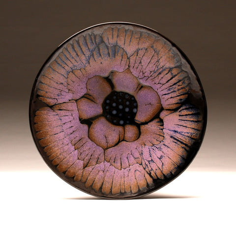 "DH019 15"" Purple and Black Flower Platter"