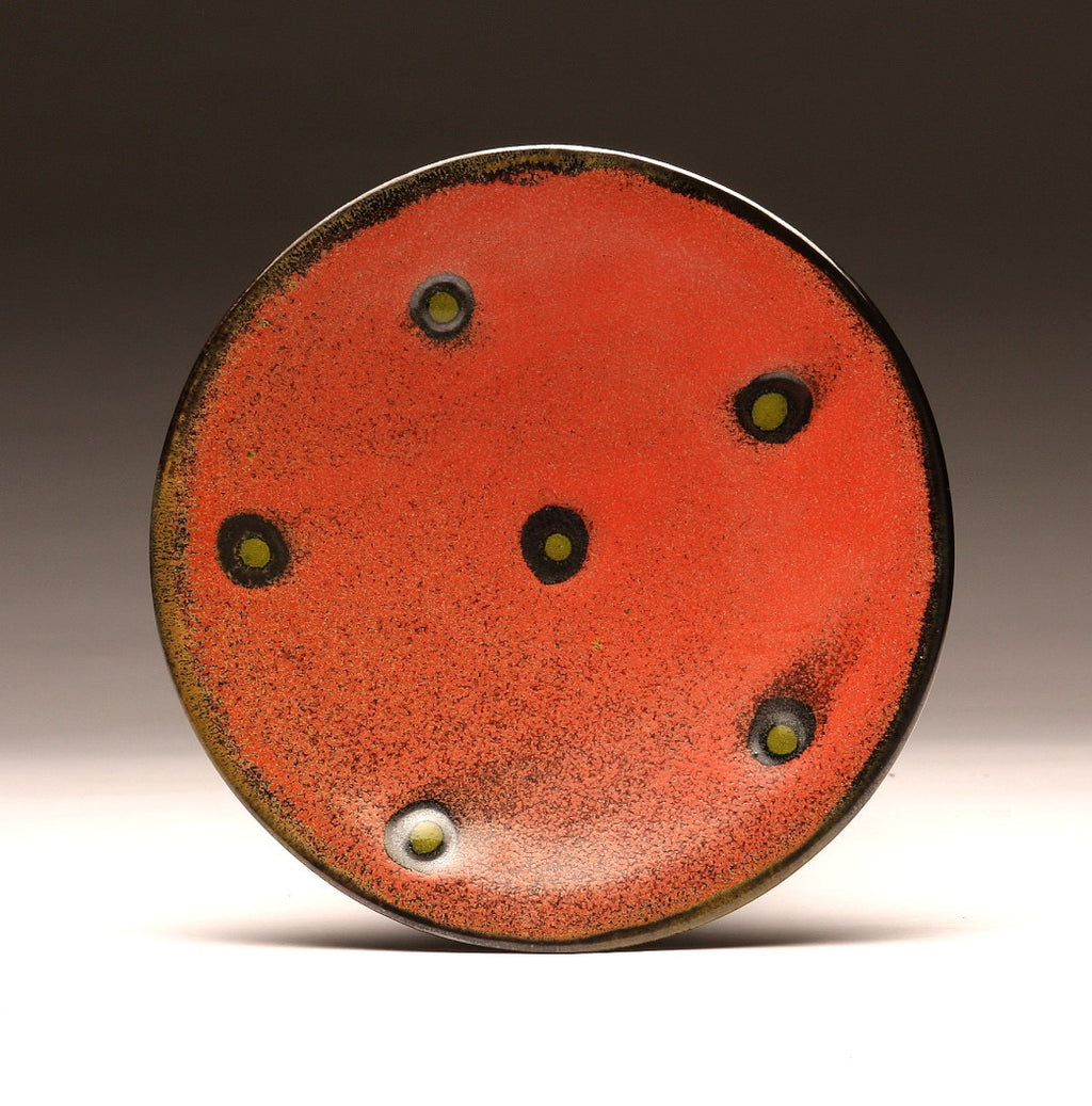 "DH027  8"" Platter, Red with Chartreuse Spots"