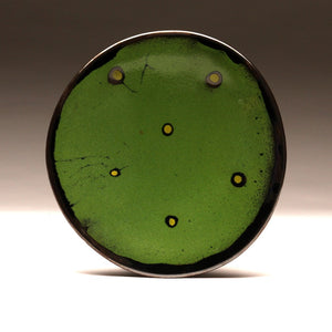 "DH034 8"" Green Platter with Chartreuse Spots"