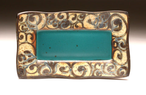 DH061 Square Plate in Teal and Spiral Tattoo