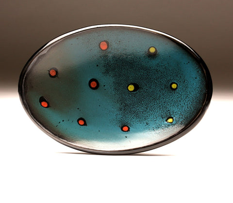 DH072 Oval Platter in Deep Teal With Spots