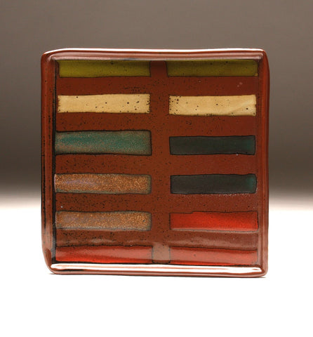 DH078 Large Square Plate with Stripes and 8 glazes!