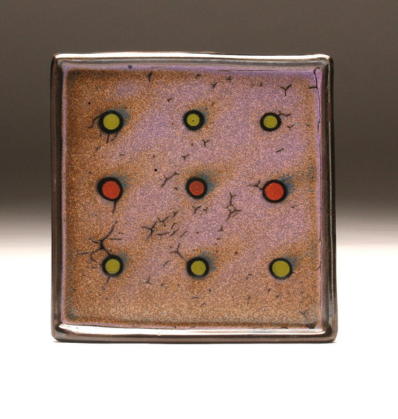 "DH089 Purple Spotted Square Plate 8"" x 8"""