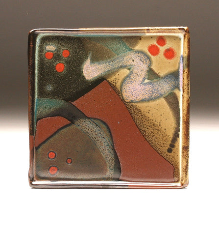 DH091 Square Plate with Trailed Glazes