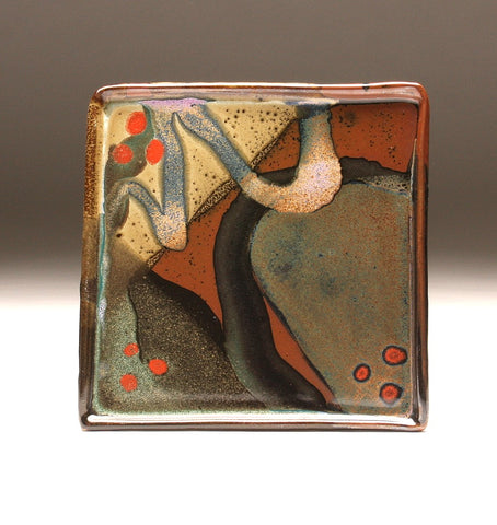 DH092 Square Plate with Trailed Glazes
