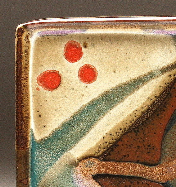 DH093 Square Plate with Trailed Glazes