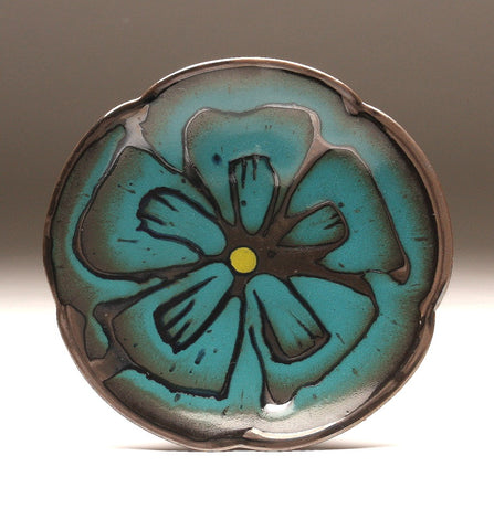 DH097 Rich Teal over Black Flower