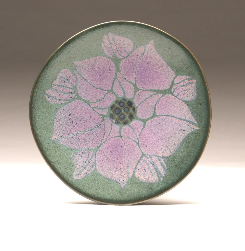 "DH016 11"" Purple over Teal Flower Platter"