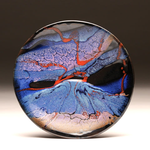 "DH203 8"" Landscape Platter in Blue, Red, Purple, and Black"