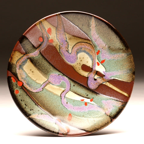 "DH204 8"" Landscape Platter in Teal, Red, Purple, Cream Over Tenmoku"
