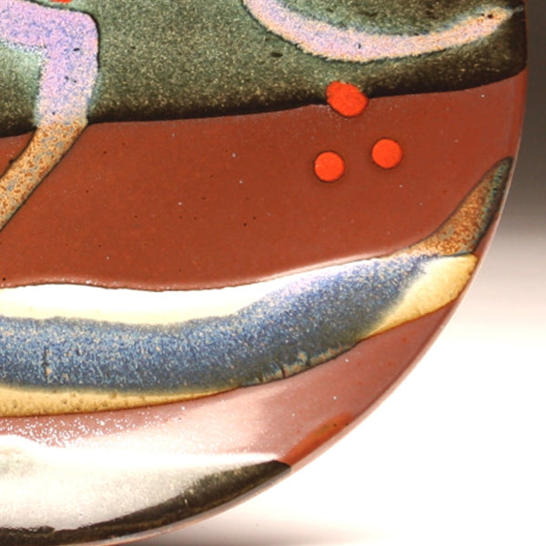 "DH205 11"" Landscape Platter in Teal, Red, Purple, Cream Over Tenmoku"