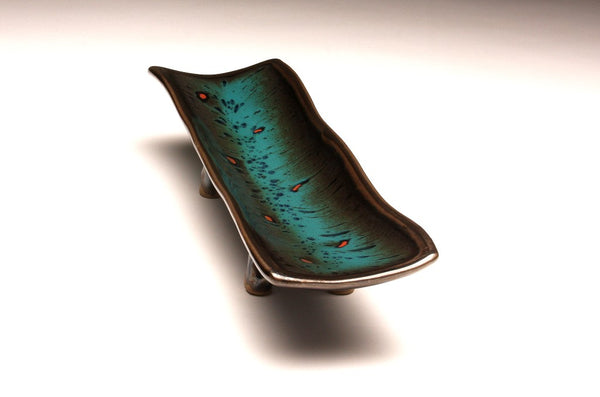 DH067 Relish Tray Teal and Black with Red Spots