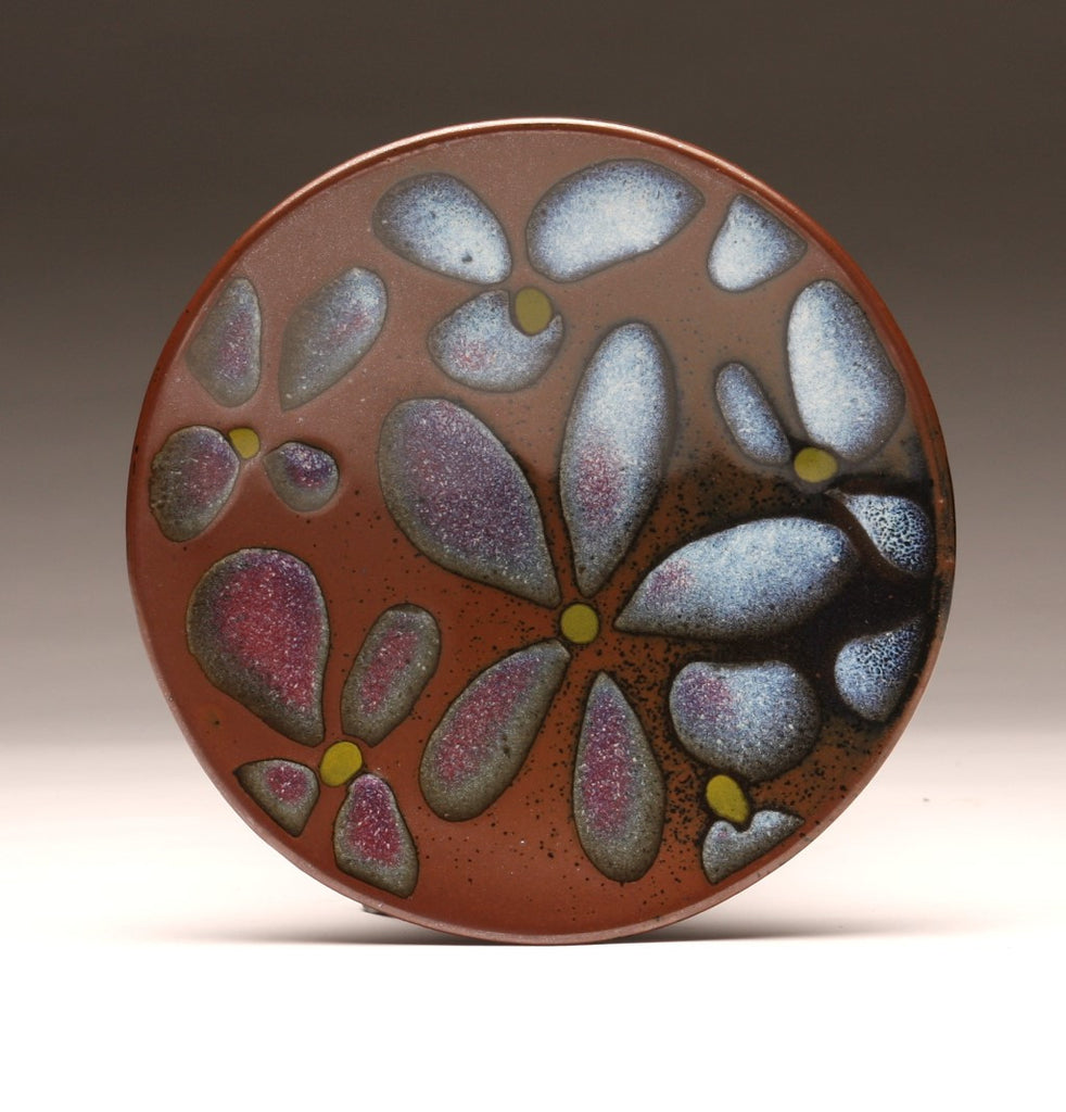 "DH026 8""  Flower Platter, Tenmoku and Copper Red"