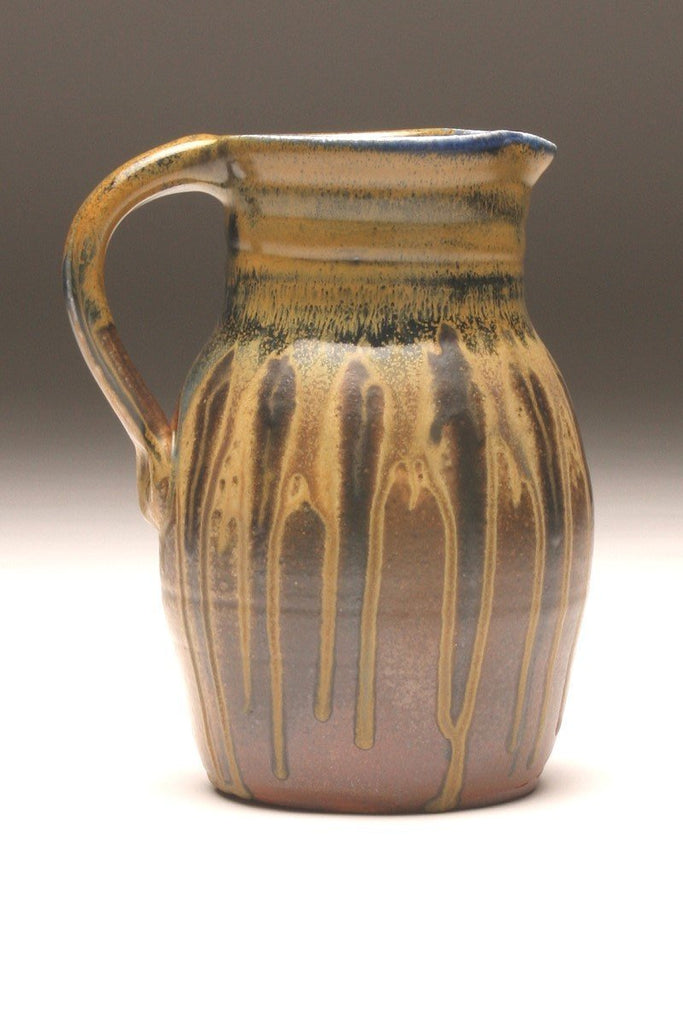 GH059 half-gallon pitcher woodfired black and gold