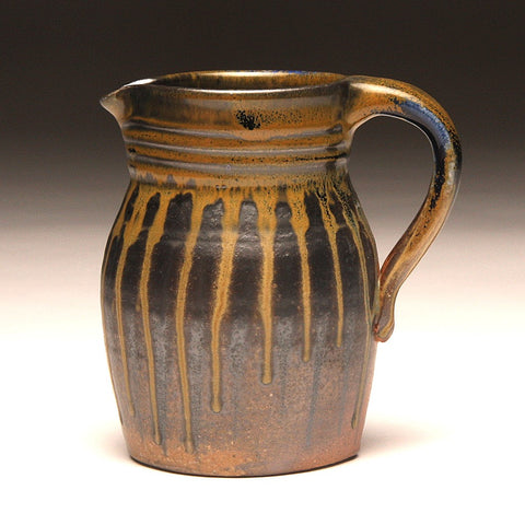 GH208 quart pitcher woodfired black and gold