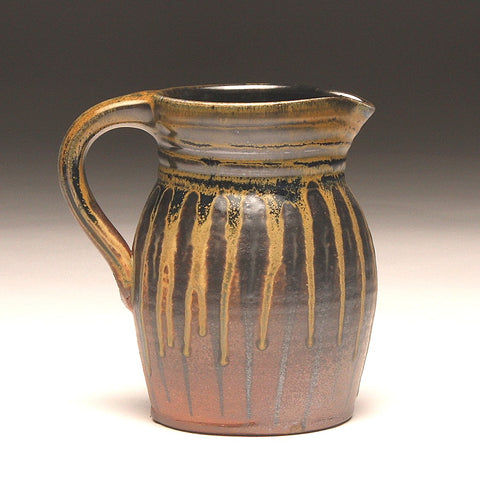 GH209 quart pitcher woodfired black, orange, and gold