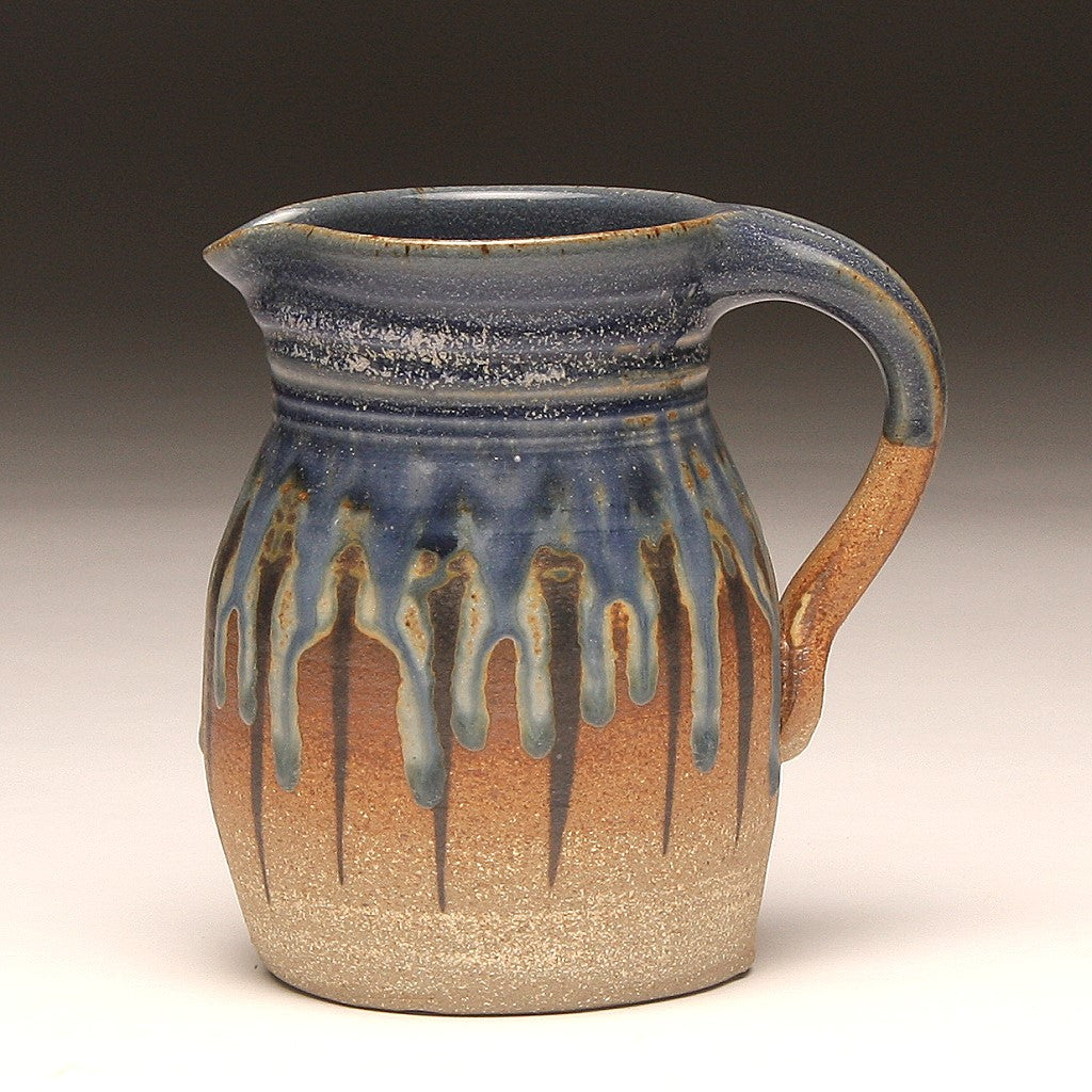 GH213 quart pitcher woodfired blue and ash