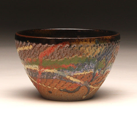 GH220 Wood Fired Bowl Chattered Texture, Red, Green Yellow, Purple,  Chartruse, outside and Tenmoku inside