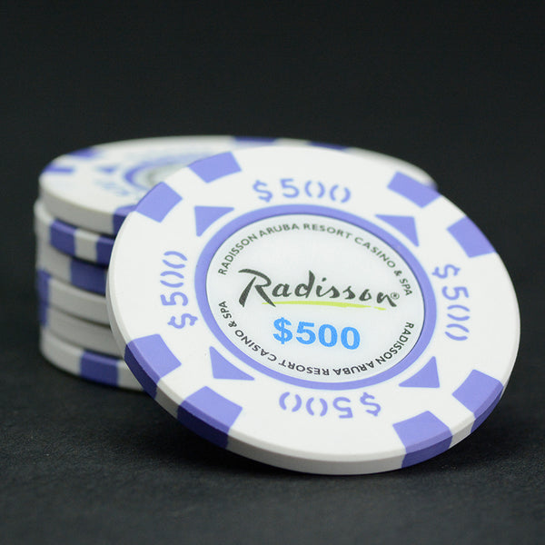 Oversized (43mm) $500 White / Purple Radisson Aruba Matsui Chips QTY (25)