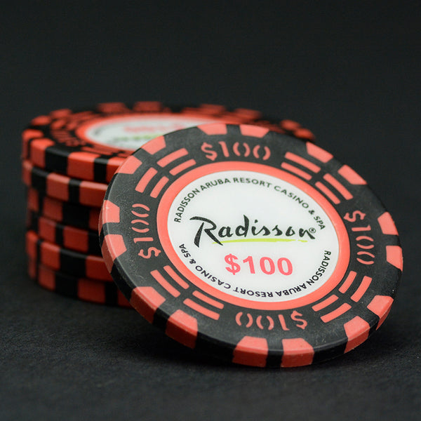 $_100 Black / Orange 39mm Radisson Aruba Matsui Chips QTY (100)