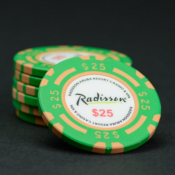 $25 Green / Peach 39mm Radisson Aruba Matsui Chips QTY (100)