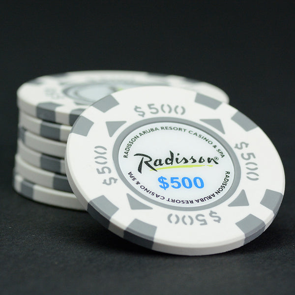 Oversized (43mm) $500 White / Grey Radisson Aruba Matsui Chips QTY (25)