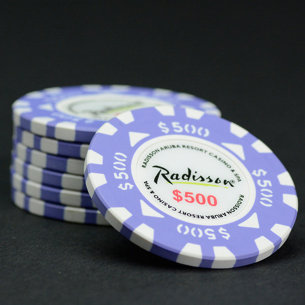 Oversized (43mm) $500 Purple / White Radisson Aruba Matsui Chips QTY (25)