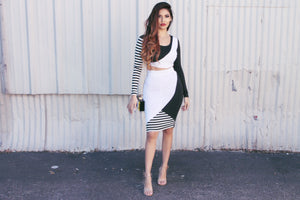 ALAINA MONOCHROME STRIPE CROP TOP & HIGH WAIST MIDI SKIRT