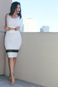 MILK WHITE CROP TOP AND HIGH WAIST MESH CUT OUT SKIRT