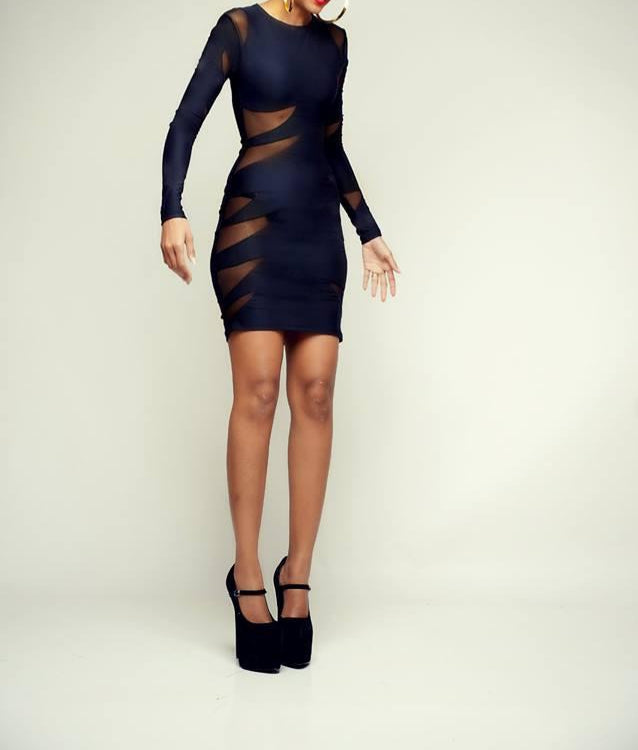 BLACK RAZOR DRESS | MULTI MESH CUT OUT