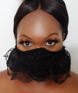 BLACK RUFFLE LACE FACE MASK