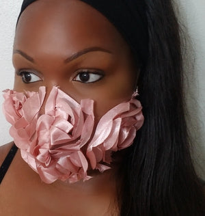 DUSTY ROSE PINK ROSETTE LACE FACE MASK