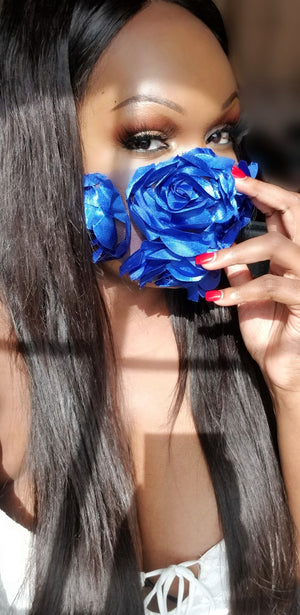 ROYAL BLUE ROSETTE LACE FACE MASK