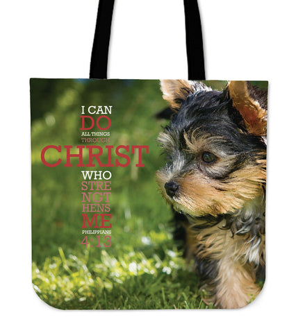 Philippians 4:13 Yorkie Tote Bag