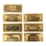 New 24K Gold Foil 7 Piece USA Money Set