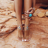 Silver & Turquoise Boho Anklet