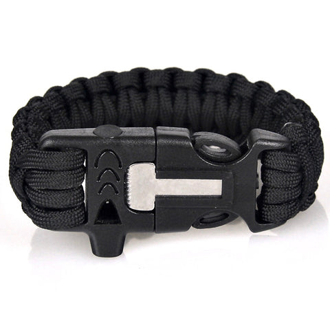 Survival Paracord Bracelet with Whistle and Flint Fire Starter