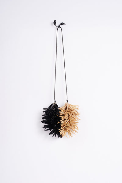 urchin neck piece - black | natural