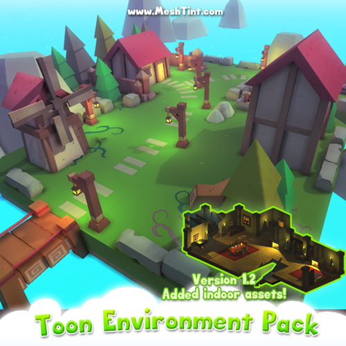 Create indoor scenes with Toon Environment Pack updates!