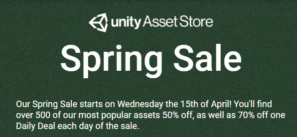 Unity's Spring Sale! Up to 70% off