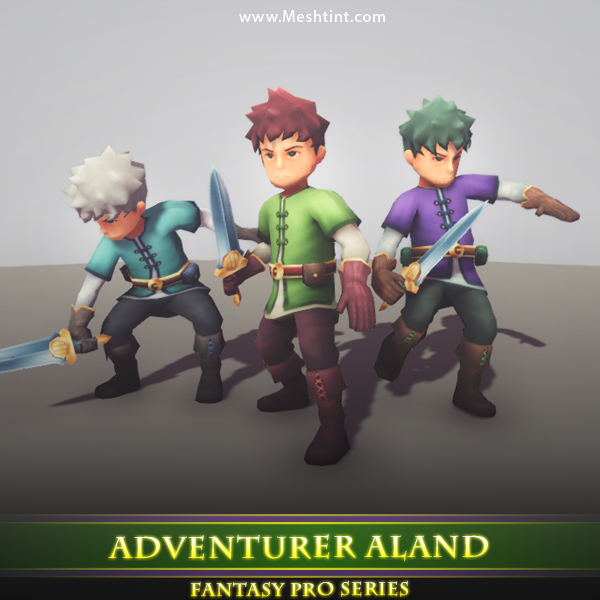 Adventurer Aland Mesh Tint Shop3DSA Unity 3D Game Low Poly Model Animation