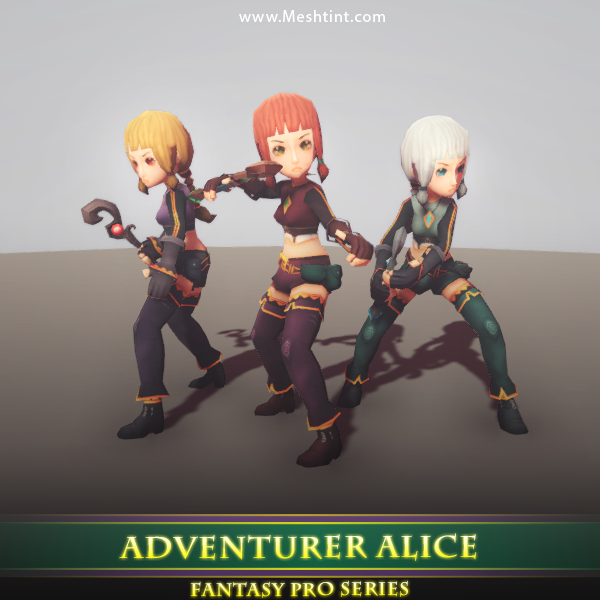 Adventurer Alice 1.4 Mesh Tint Shop3DSA Unity3D Game Low Poly Download 3D Model