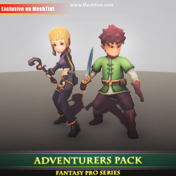 Adventurers Pack 1.1 Mesh Tint Shop3DSA Unity3D Game Low Poly Download 3D Model