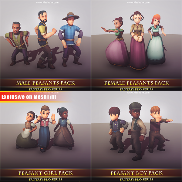 All Peasants Pack Mesh Tint Shop3DSA Unity3D Game Low Poly Download 3D Model